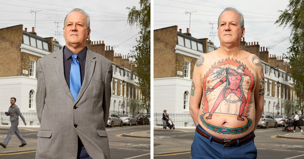 Фотограф снимает татуированных людей в одежде и без. Не угадаешь, под каким костюмом прячется душа бунтаря