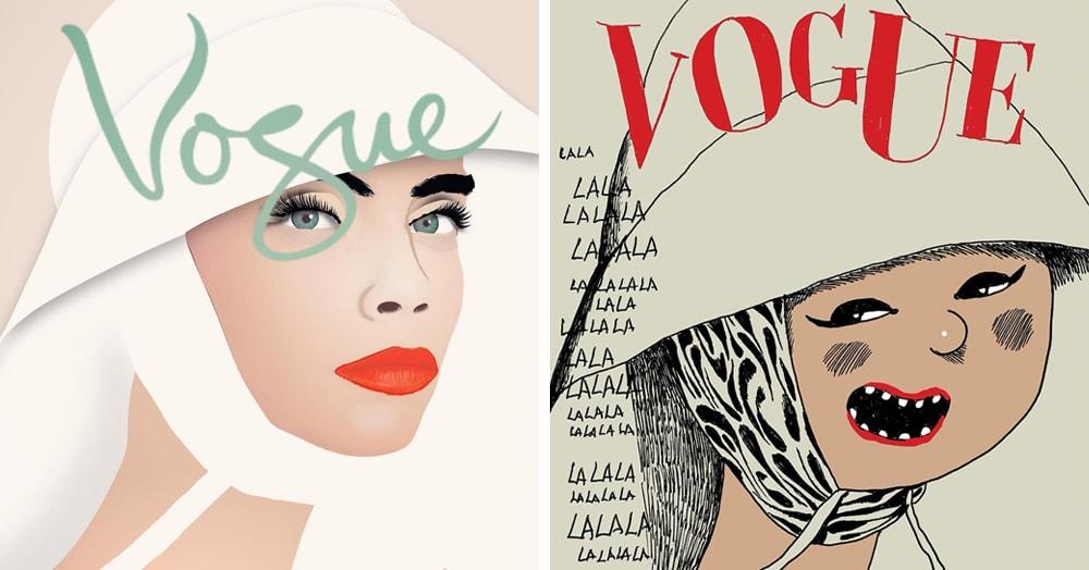 Иллюстраторы запустили флешмоб и копируют обложку Vogue, оправдывая фразу «я художник, я так вижу!»