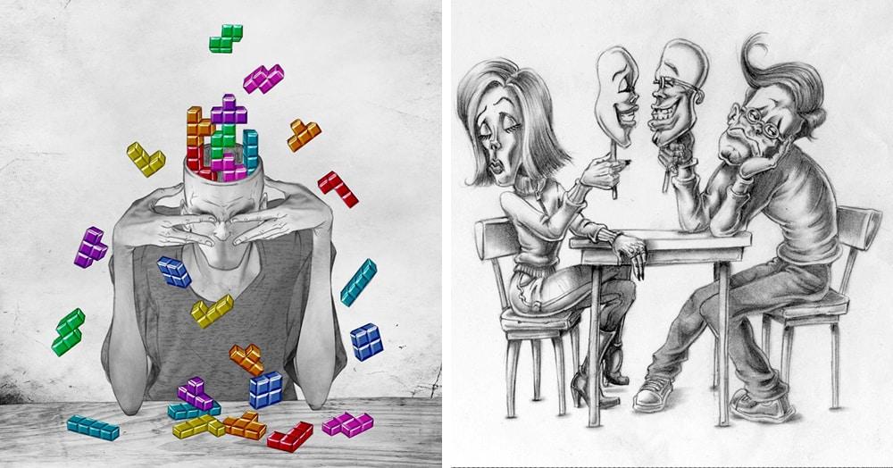 30 сатирических карикатур на современное общество, способных разбить любые розовые очки