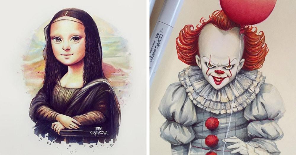 Девушка рисует портреты известных персонажей в мультяшном стиле, делая милашек даже из злодеев