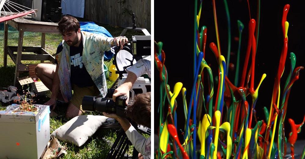 Блогеры взяли мощный динамик и краски, чтобы создать замедленное видео, от которого не оторваться