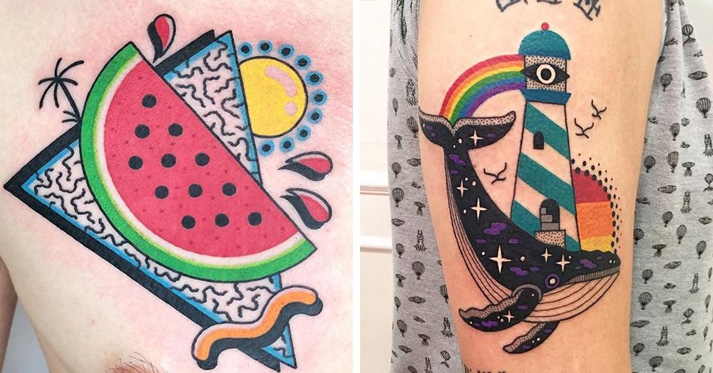 25 красочных татуировок художника из Портленда, чьи работы видны издалека