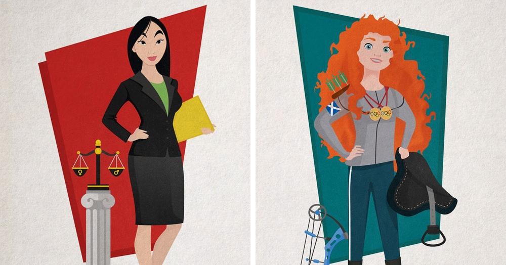 Художник изобразил диснеевских принцесс в виде успешных карьеристок, и их пример действительно вдохновляет