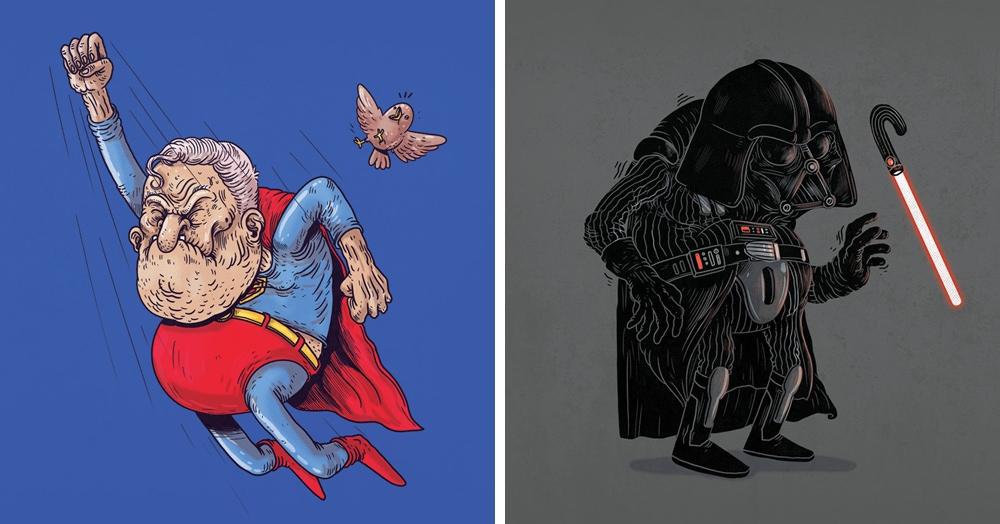 Художник представил известных персонажей в старости, и эти ребята явно не думают выходить на пенсию