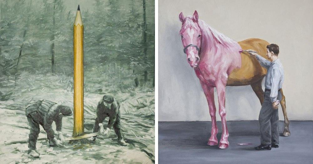 Художник создаёт ироничные иллюстрации, показывая как человек пытается подстроить природу под себя