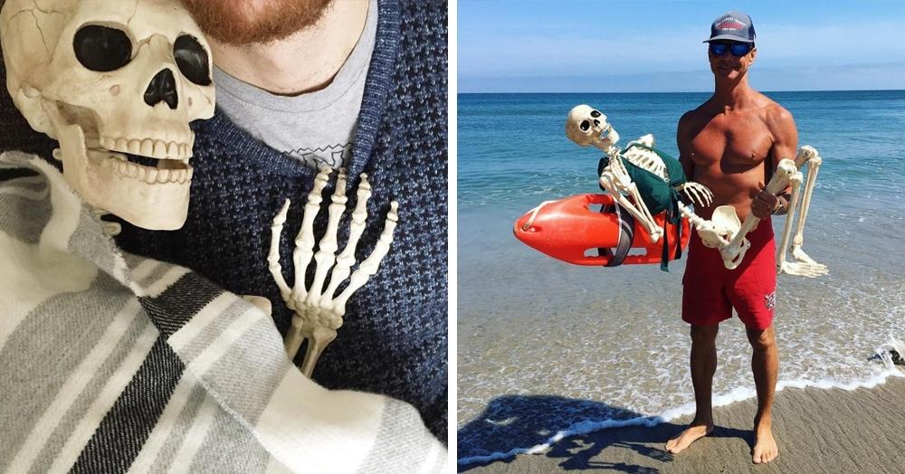 Скелет по имени Скелли пародирует популярные снимки девушек из Инстаграма. Получается не хуже оригиналов