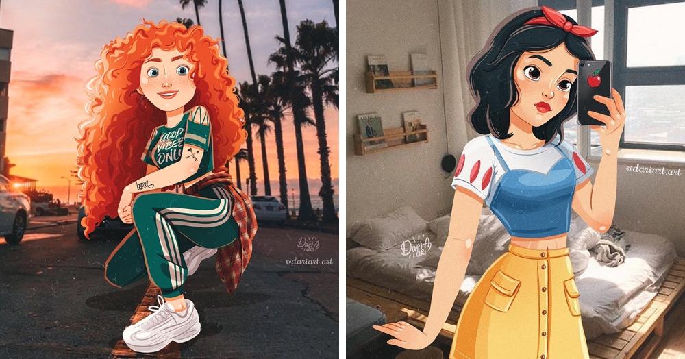 Девушка нарисовала диснеевских принцесс в современных образах, и выглядят они как обычные подростки