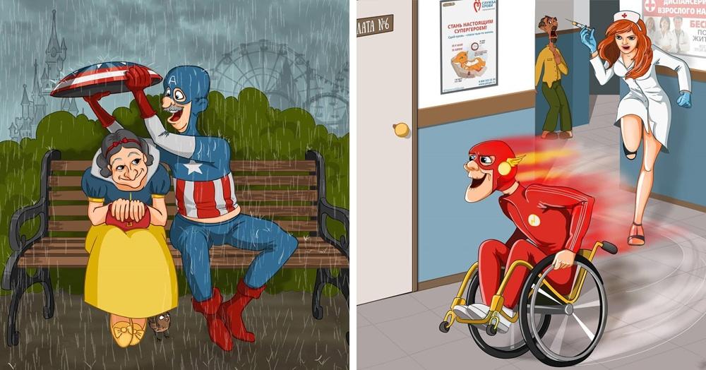 Девушка из Перми создала серию рисунков с супергероями в старости. И у них ещё есть порох в пороховницах!