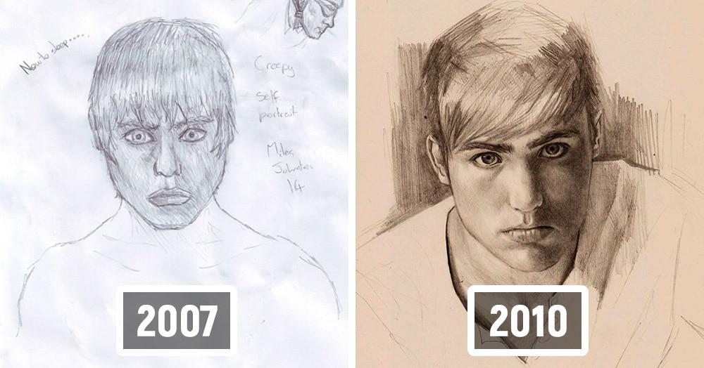 Этот художник прошёл долгий 11-летний путь от неумелых набросков к сюрреализму, и его прогресс поражает