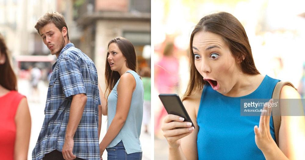 У девушки из мема про неверного парня, оказывается, есть другие фотки. И её удивление не знает предела