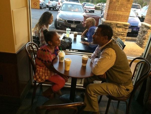 Took A Picture Of A Man And Daughter At A Coffee Shop To Show Them What They Would Look Like In 10 Years