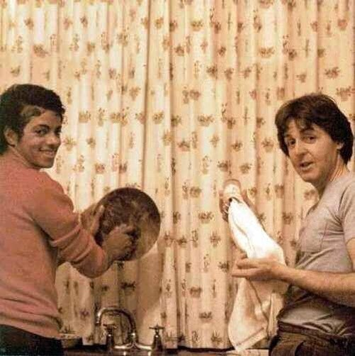 Michael Jackson And Paul Mccartney Doing Dishes, 1982