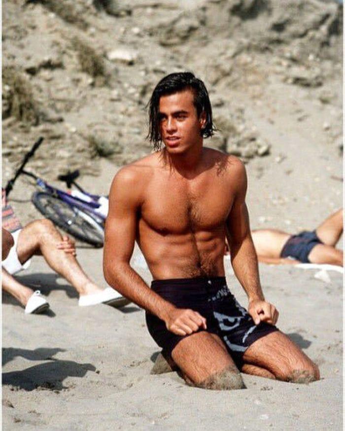 19-Year-Old Enrique Iglesias On A Beach