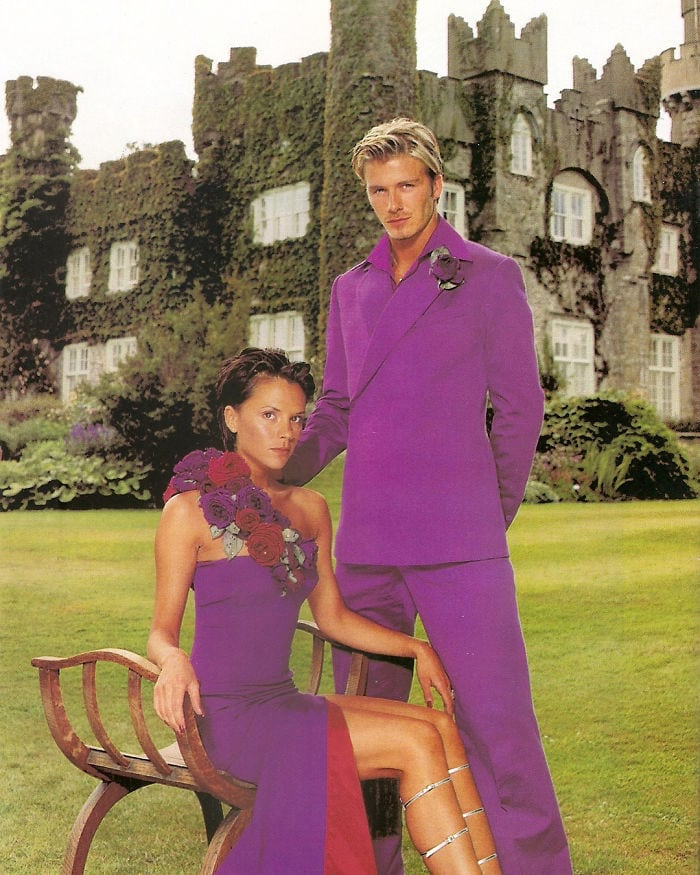 David And Victoria Beckham Wore Matching Purple Outfits For Their Wedding Reception In 1999