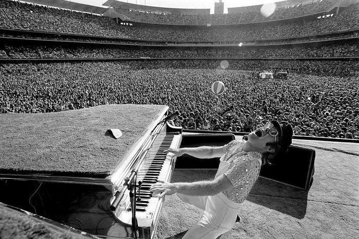 Elton John Rocking Out At Dodger Stadium In Los Angeles, 1975