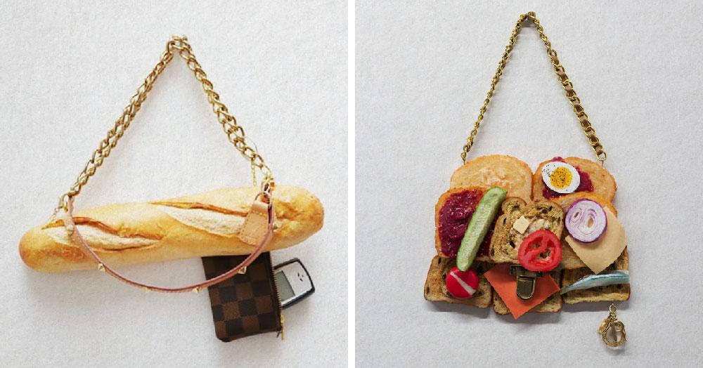 Девушка высмеяла проблему обжорства и траты денег на бренды, совместив одно и другое в своих безумных сумочках