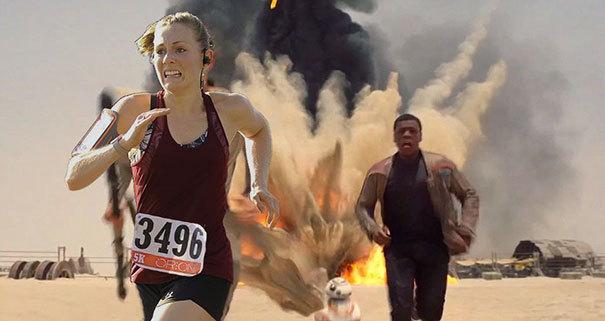 Девушка выиграла забег на 5 км, и муж в награду добавил на её фотографию с гонки немного спецэффектов 3