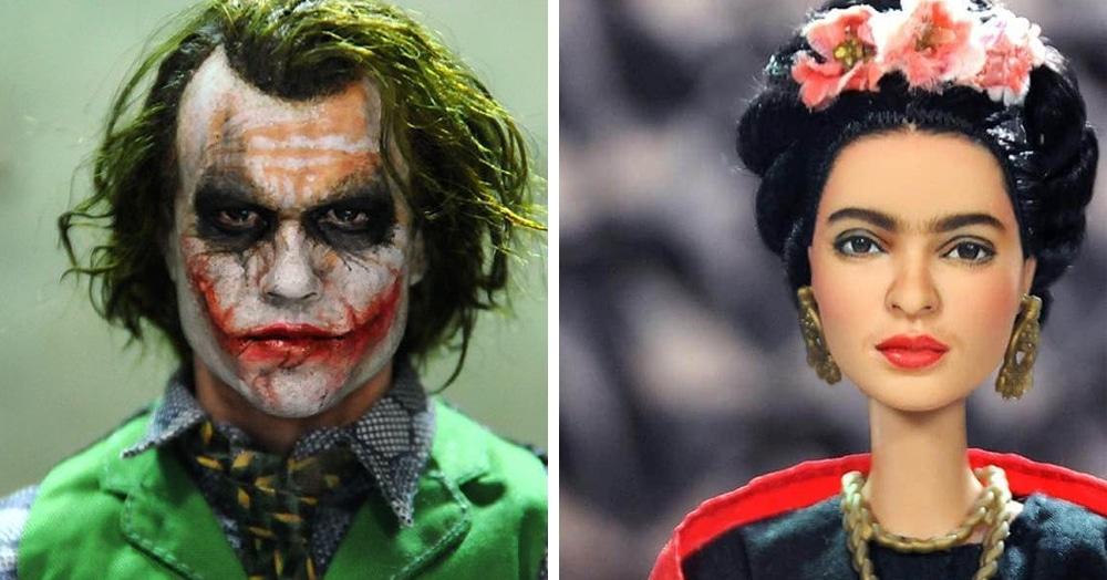 Художник перерисовал лица кукол, превращая их в известных героев кино. Выглядят они совсем как живые