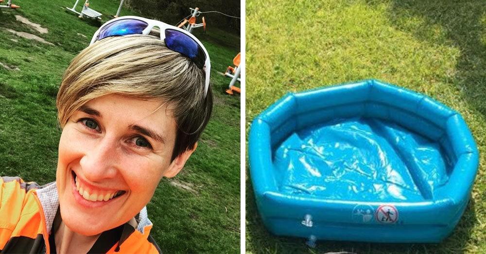 Девушка купила надувной бассейн, который был дёшев и прекрасен. Но поплавать ей в нём не удалось