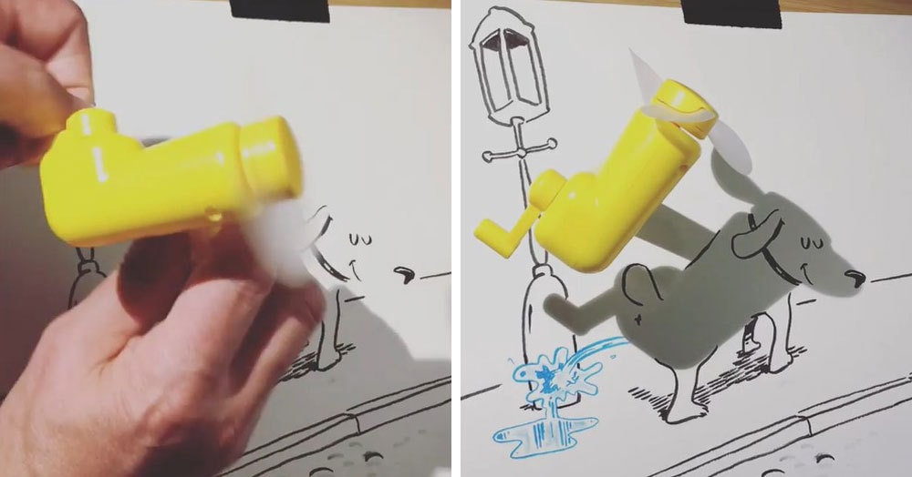 Парень создаёт иллюстрации с помощью теней окружающих предметов, и на видео эти рисунки буквально оживают