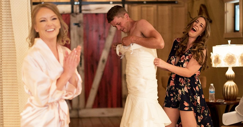 Заметив, что жених волнуется, невеста решила его разыграть. Для этого ей понадобилась помощь брата