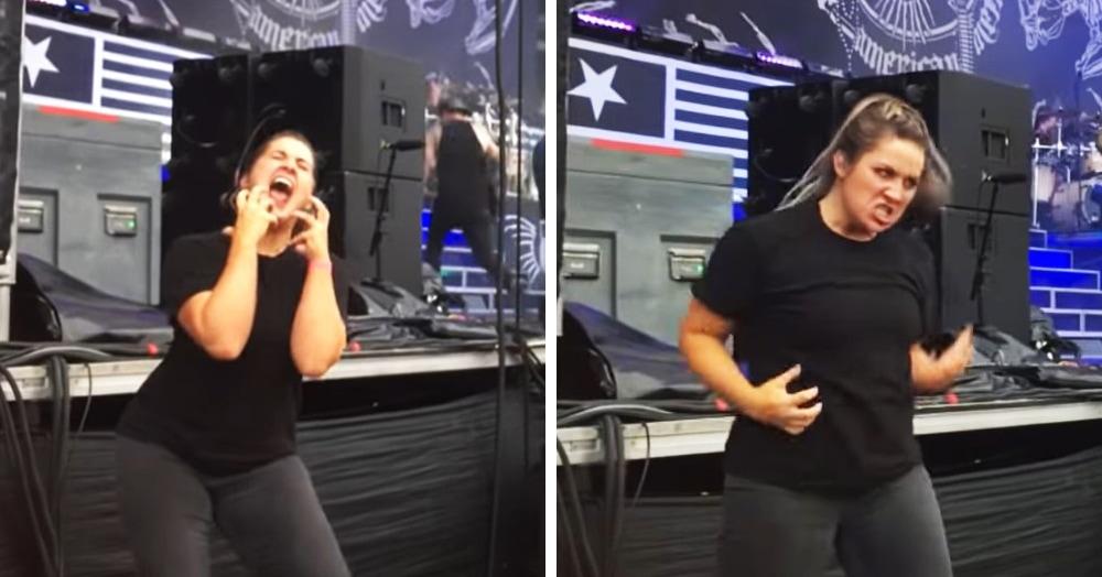 Девушка так ярко переводила концерт метал-группы на язык жестов, что затмила самих музыкантов