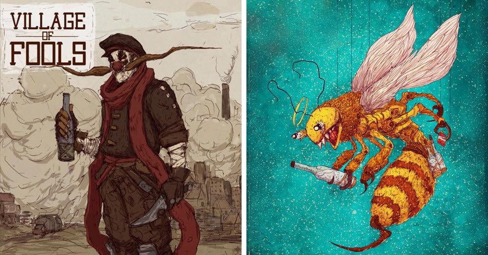 Парень нарисовал героев «Деревни дураков» в новом образе. Они так круты, что лучше с ними не шутить