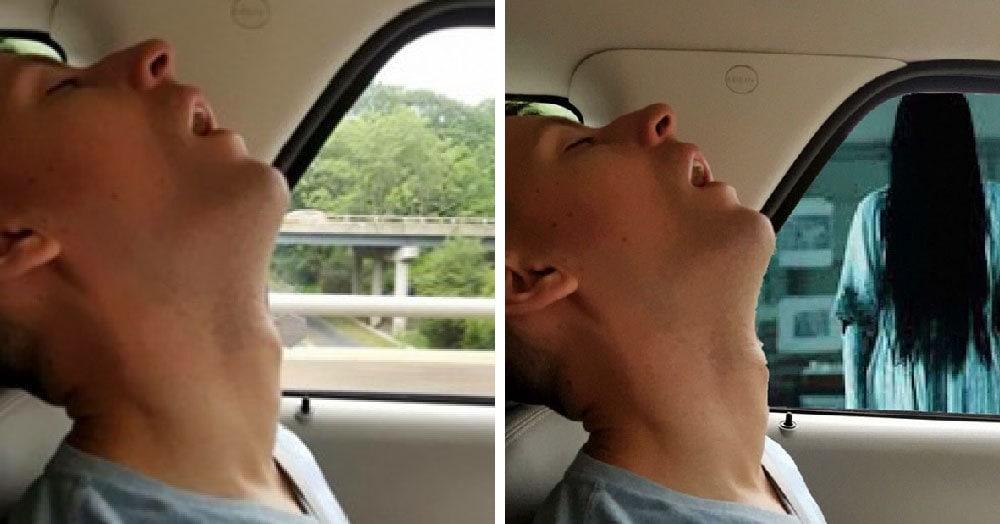 Парень заснул в машине, и его подруга попросила мастеров фотошопа поиграть с его фото. Те и поиграли