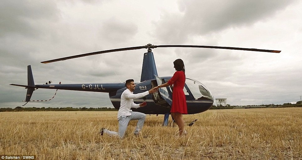 Mr Bhanot told new fianceAnisha Seth, also 28, that they would be going up in a helicopter over the Cheshire countryside to celebrate his birthday. Luckily the sci-fi and space fan was keen for the flight