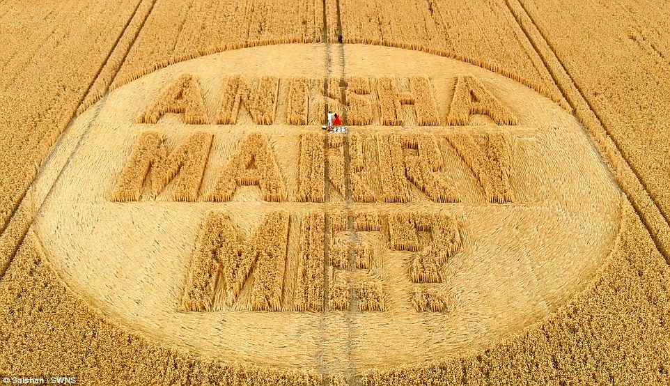Corn-y romantic Varun Bhanot, 28, proposed to his girlfriend of four years in a helicopter 200ft above the important question carved into a cornfield. Mr Bhanot kept the request simple and opted out of carving