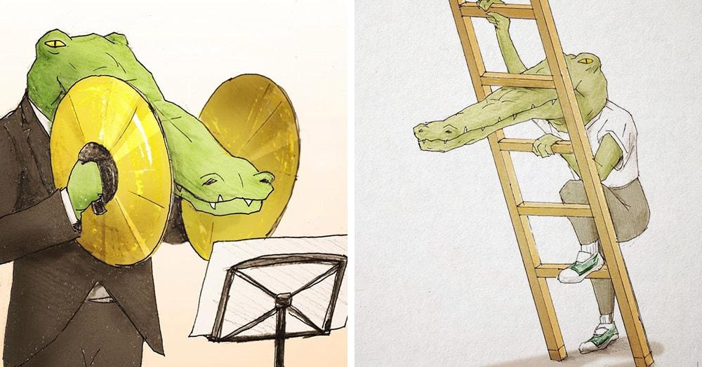 25 рисунков японского художника о буднях крокодилов, живущих среди людей. И жизнь эта вовсе не сахар