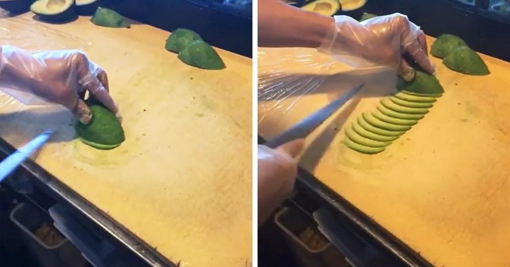 Повар так нарезает авокадо, что становится страшно за его пальцы. Но перестать смотреть на это нельзя