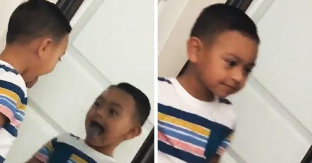 Девушка выложила видео, на котором отражение ребёнка движется быстрее него самого. И это пугает
