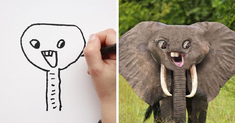 Отец показал, какими были бы животные, если бы в жизни они выглядели так же, как на рисунках его сына