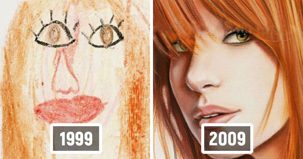 Художники показали, насколько можно улучшить свои навыки, даже если сначала получаются невнятные каракули