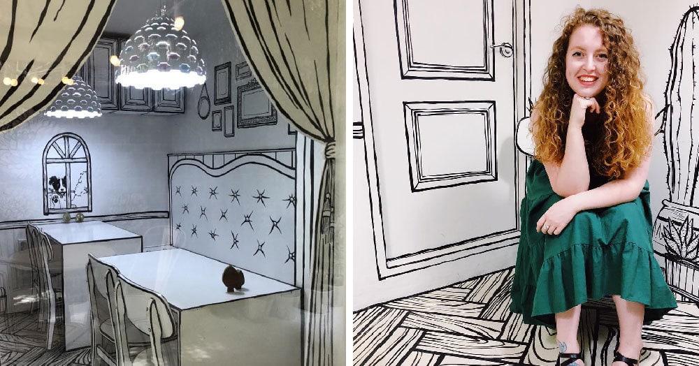 Думаете, рисунок? Нет, это настоящее кафе в Сеуле, где можно почувствовать себя персонажем комикса