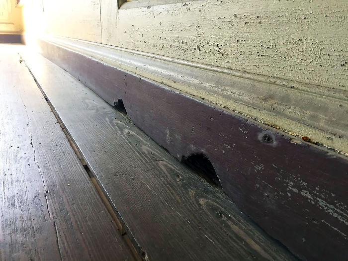"""These """"Tom And Jerry"""" Type Mouse Holes Gnawed In A House Built In 1741"""