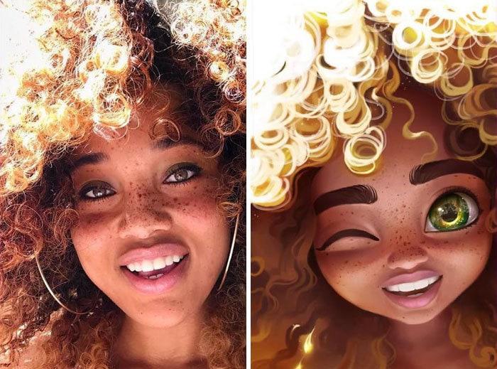 22 фотографии простых людей, которые стали крутыми мультяшками с лёгкой руки художницы с Мадагаскара 12