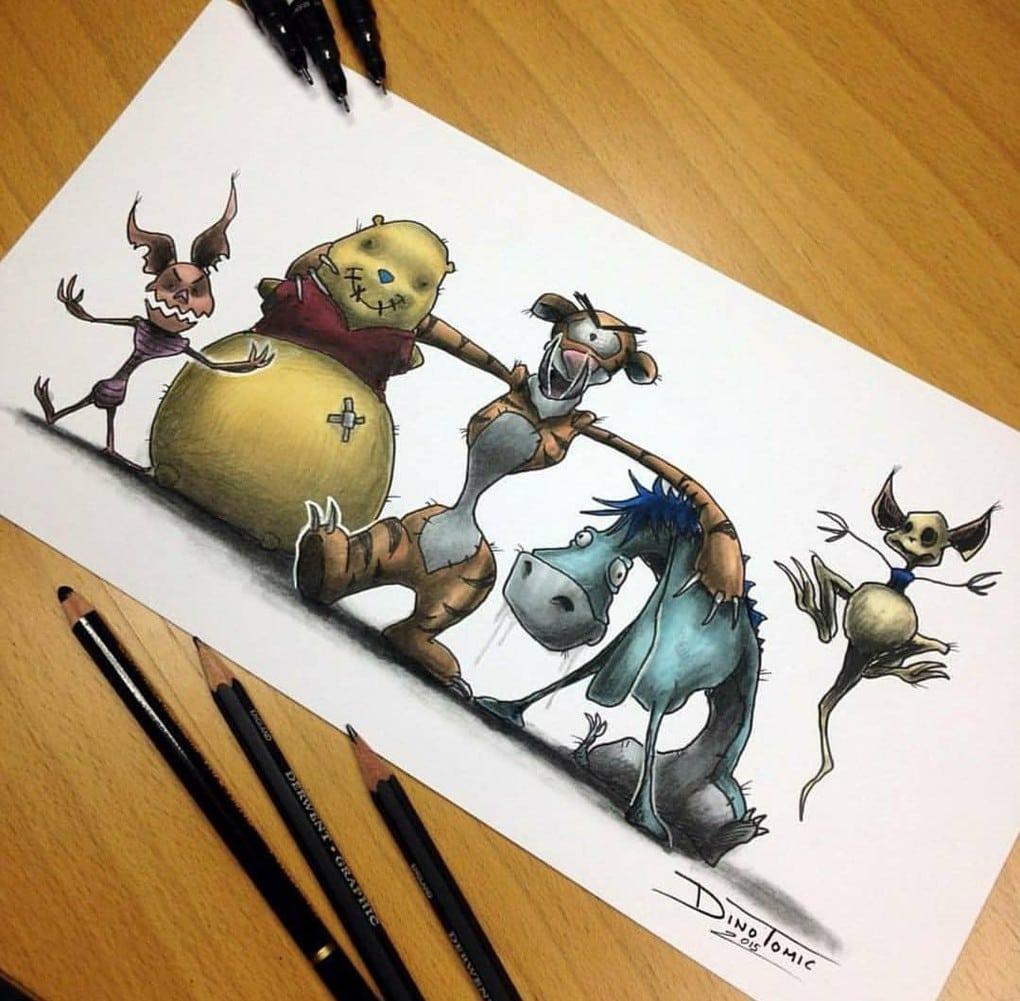 Художник изобразил любимых мультяшек в образе злобных монстров, которые сожрут все ваши детские воспоминания 77