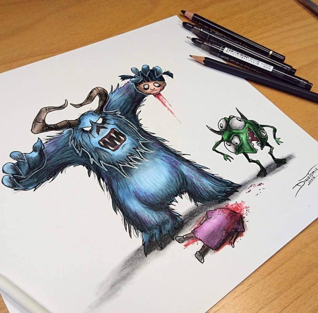 Художник изобразил любимых мультяшек в образе злобных монстров, которые сожрут все ваши детские воспоминания 65