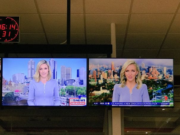 News Readers From Rival Australian TV Stations Wearing The Same Outfit