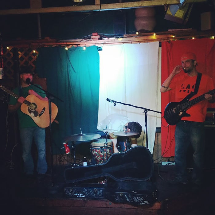 "Played At An Irish Bar Last Night And Accidentally Dressed As The Flag Behind Us. It Was Dubbed ""Camouflage Show"" By Someone In The Crowd"