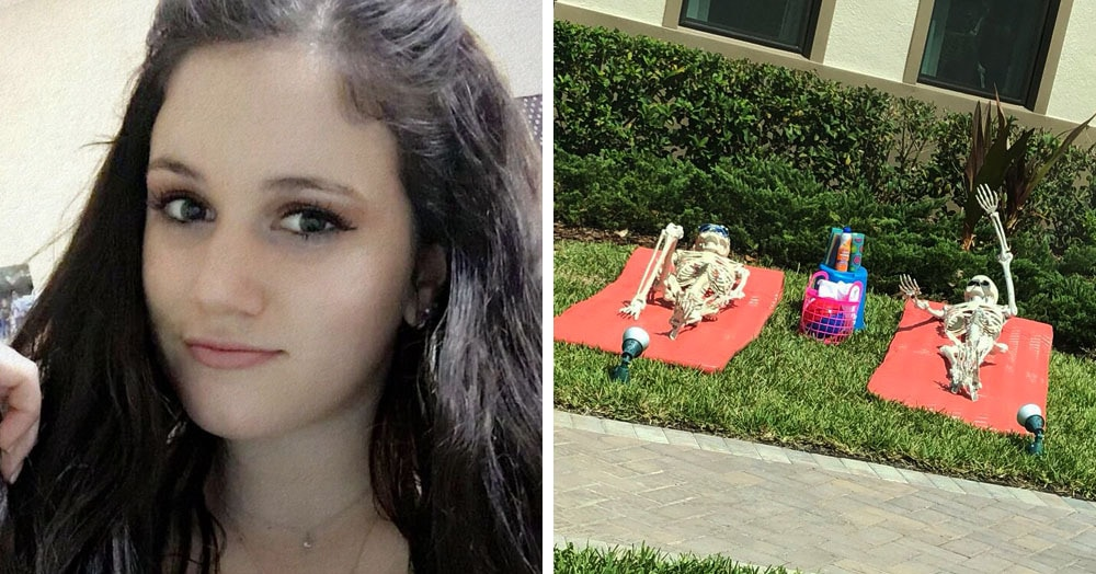 Девушка заметила, что её соседи ставят перед домом сценки со скелетами. И каждый день у них новый сюжет