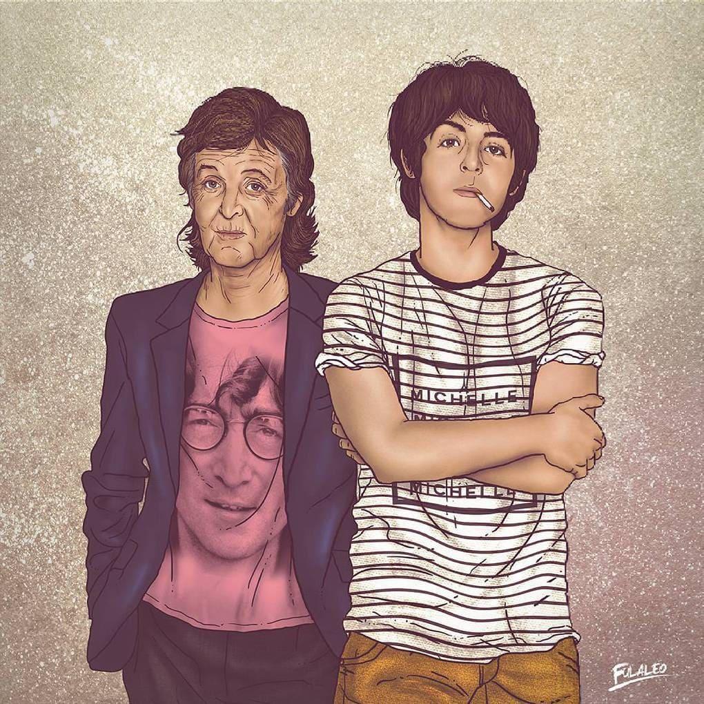 Колумбийский художник на одном рисунке разместил знаменитостей в молодости и много лет спустя 6