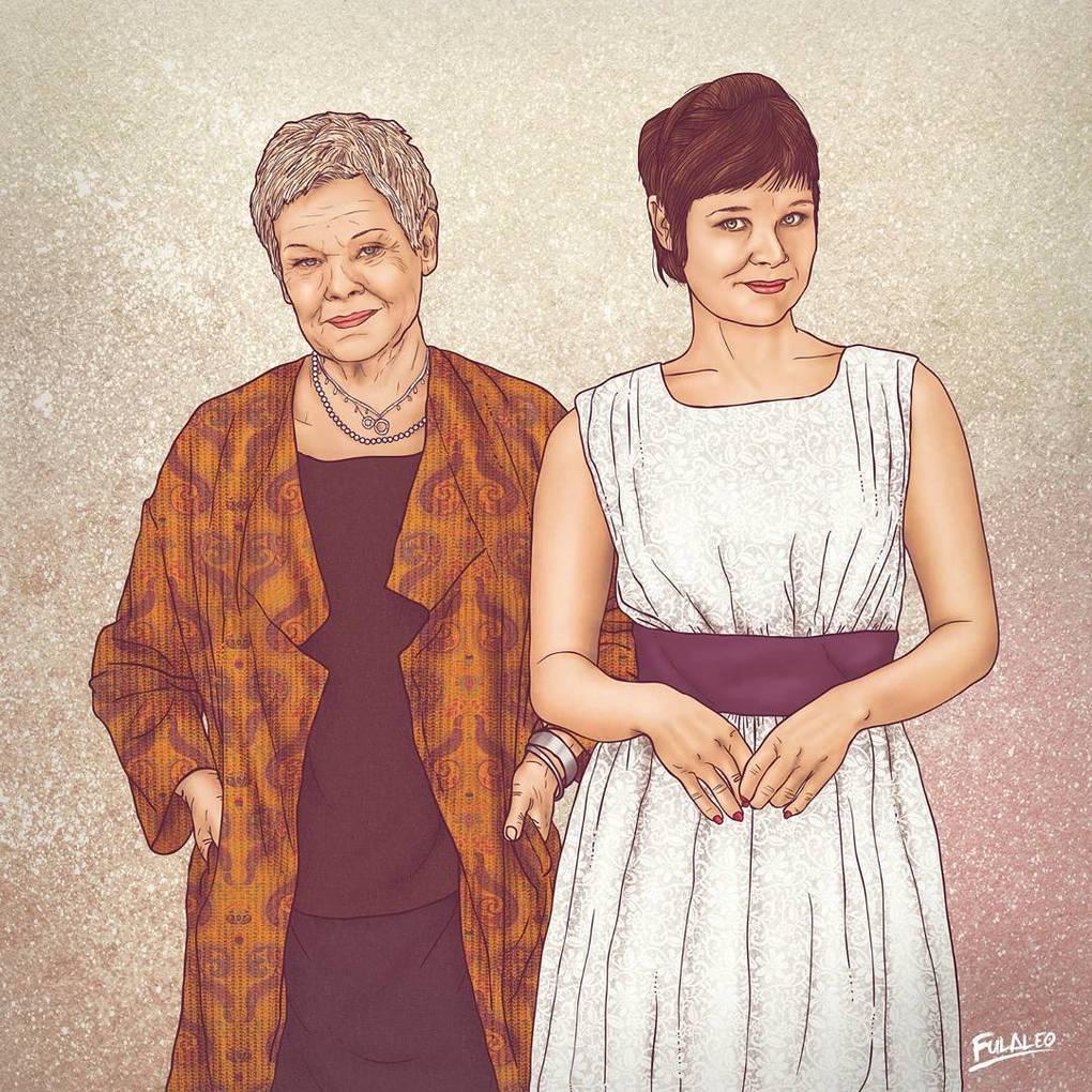 Колумбийский художник на одном рисунке разместил знаменитостей в молодости и много лет спустя 13