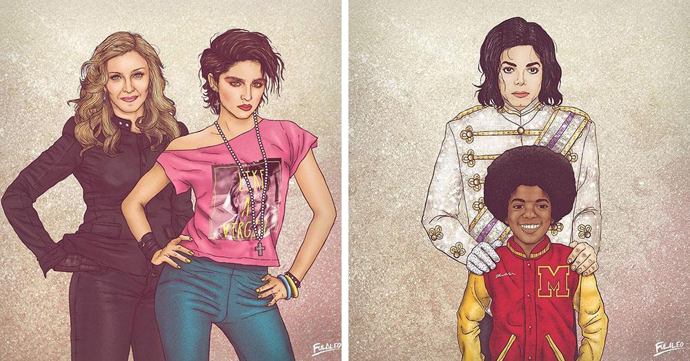 Колумбийский художник на одном рисунке разместил знаменитостей в молодости и много лет спустя