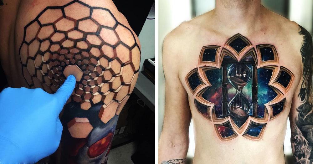 Тату-мастер создаёт трёхмерные татуировки, которые показывают фантастические миры, скрывающиеся под кожей