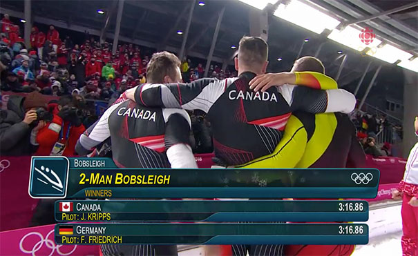 Germany And Canada Tie For Gold In Olympic Two-Man Bobsleigh