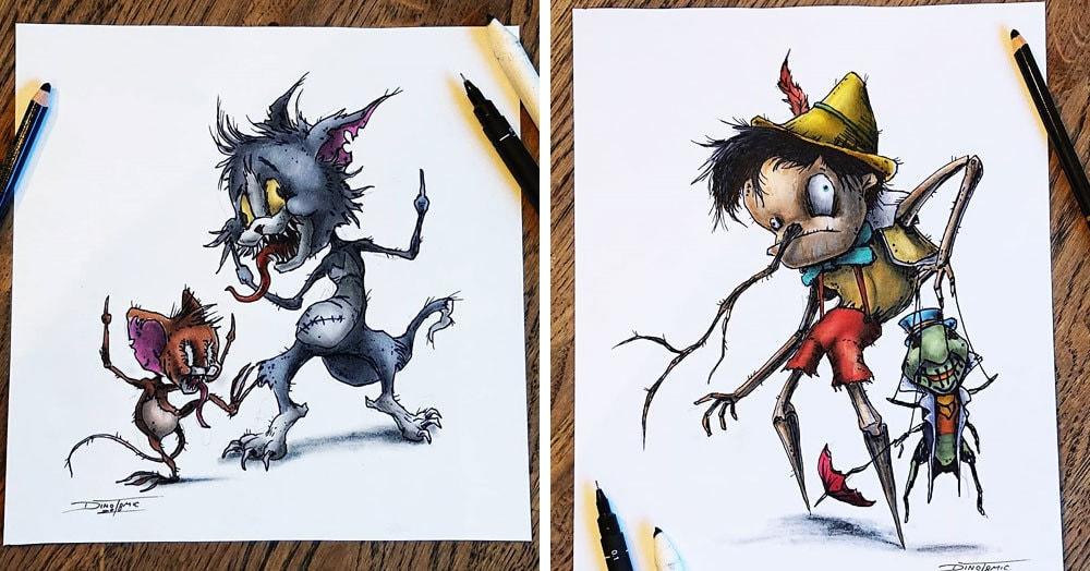Художник изобразил любимых мультяшек в образе злобных монстров, которые сожрут все ваши детские воспоминания