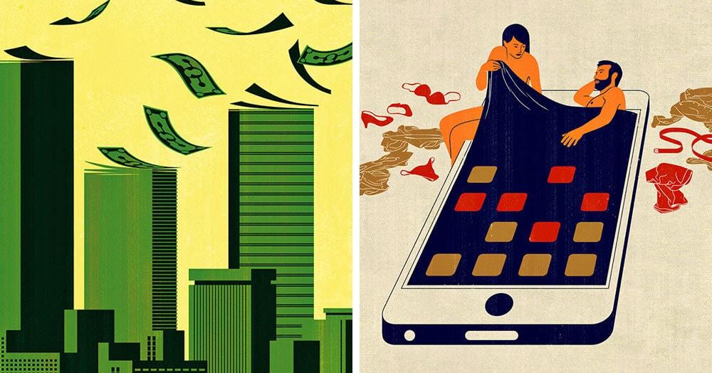 Художник из Италии создаёт минималистичные иллюстрации о том, чем сегодня живёт современное общество